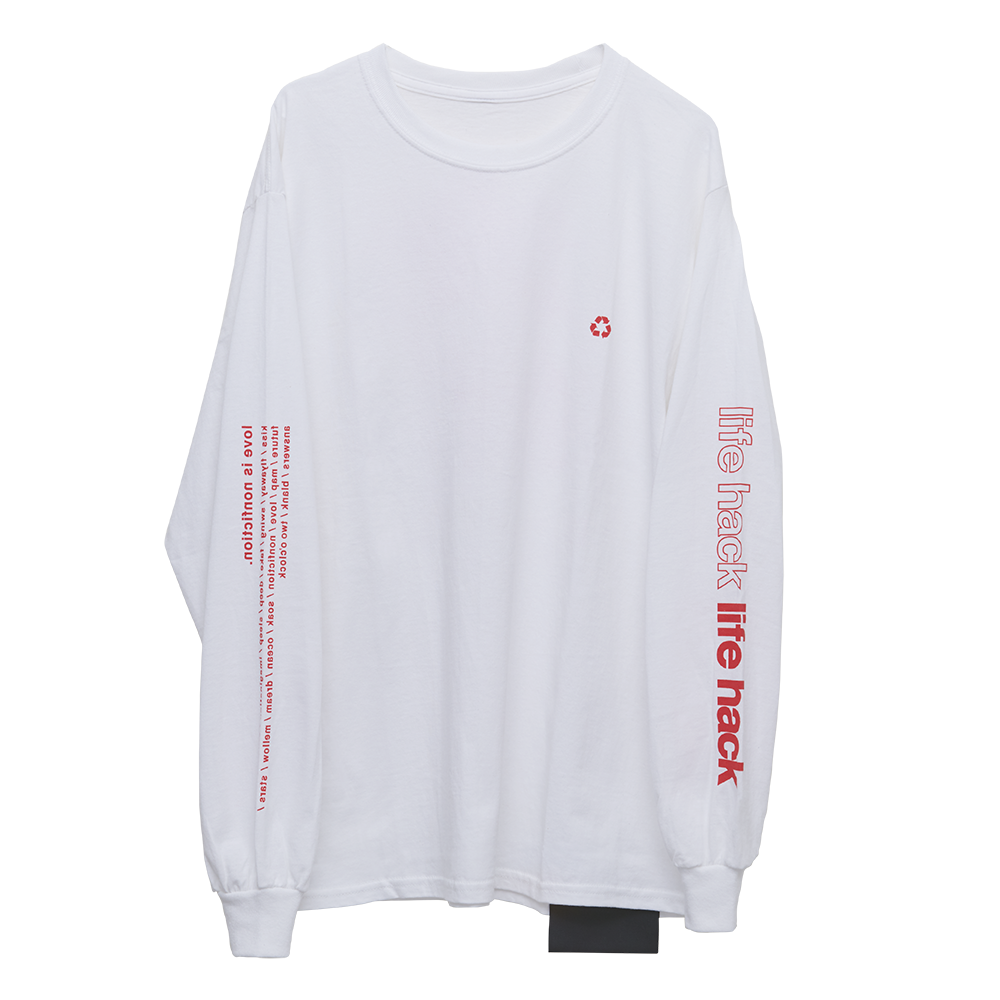 Long Sleeve T-Shirt・life hack [White]
