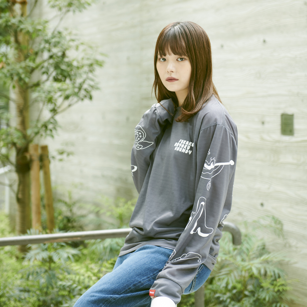 Long Sleeve T-Shirts・Fukakouryoku [Gray]