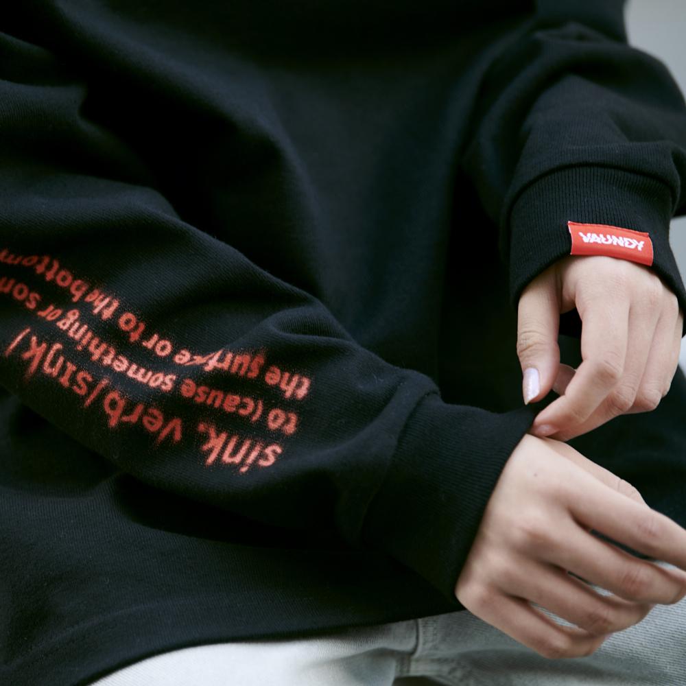 "Long Sleeve Light Sweatshirts""Sink""[Black]"