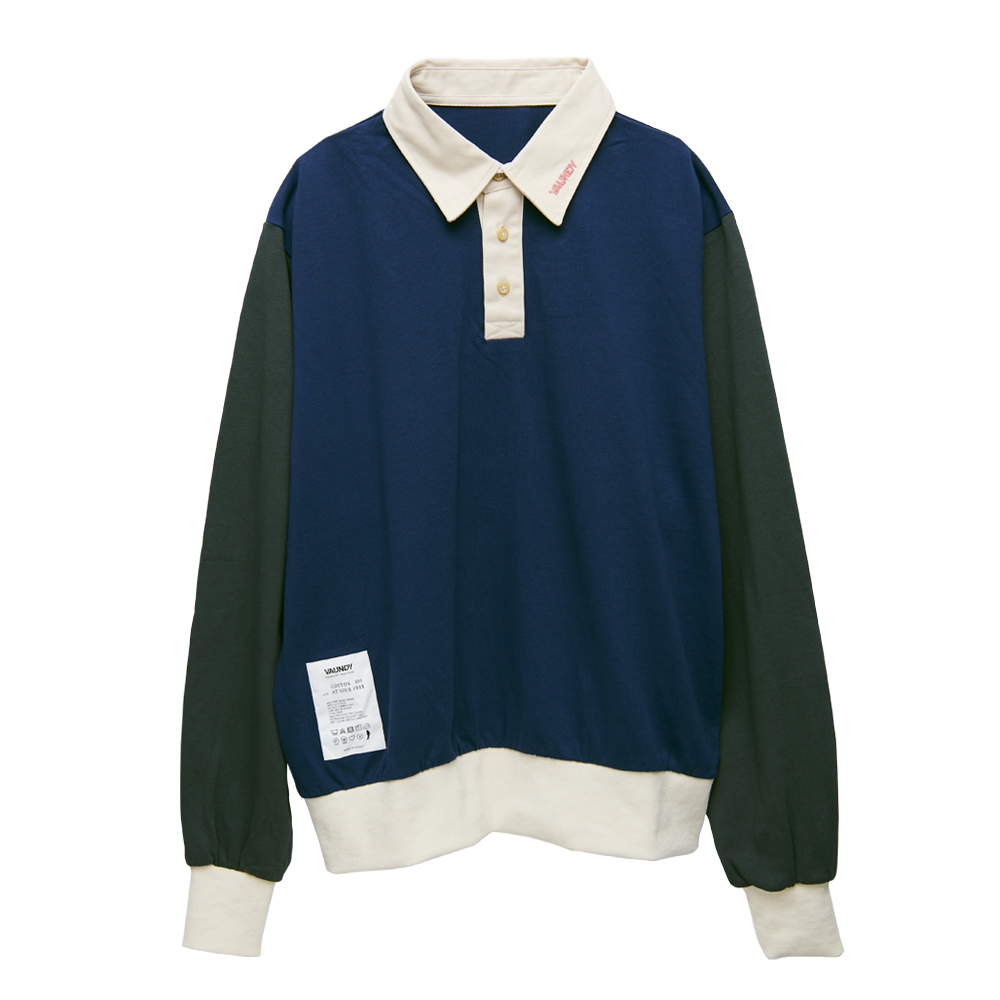 【Limited】Long Sleeve Polo Shirts [Navy x Charcoal]