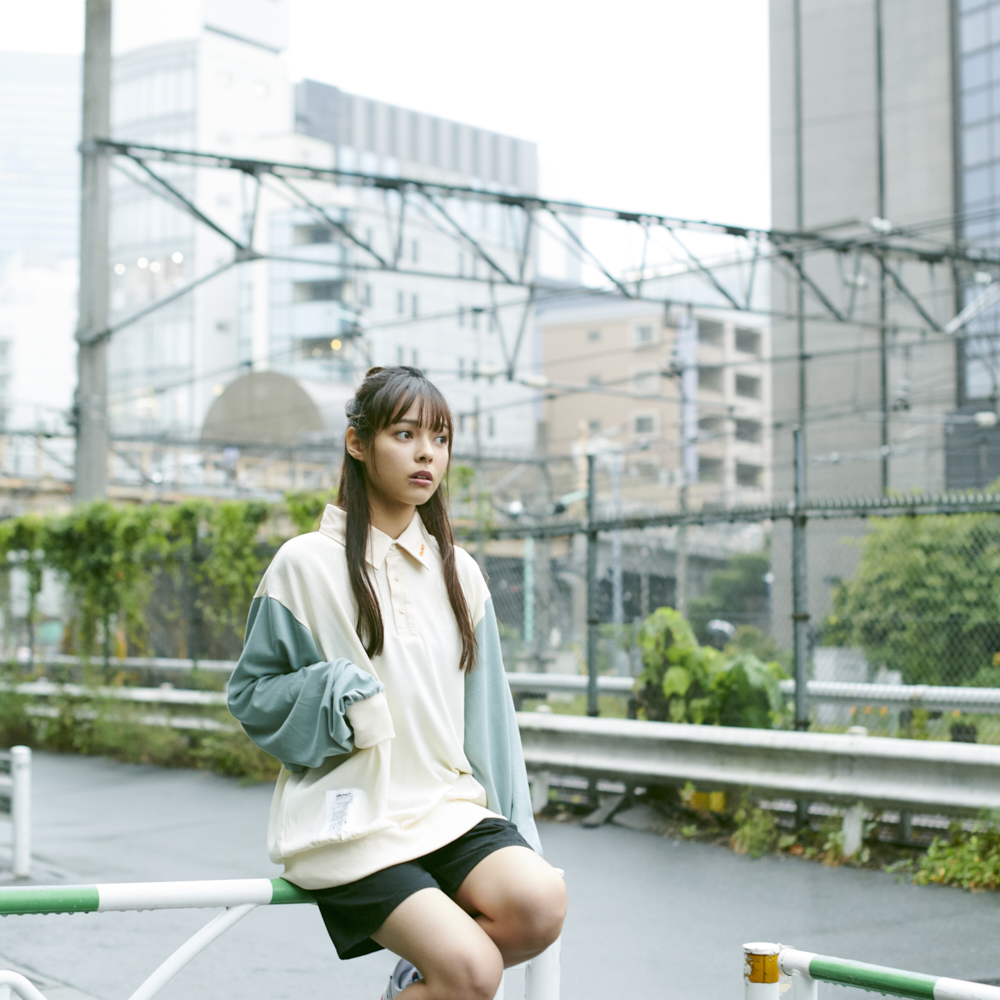 【Limited】Long Sleeve Polo Shirts [Natural x Blue Gray]