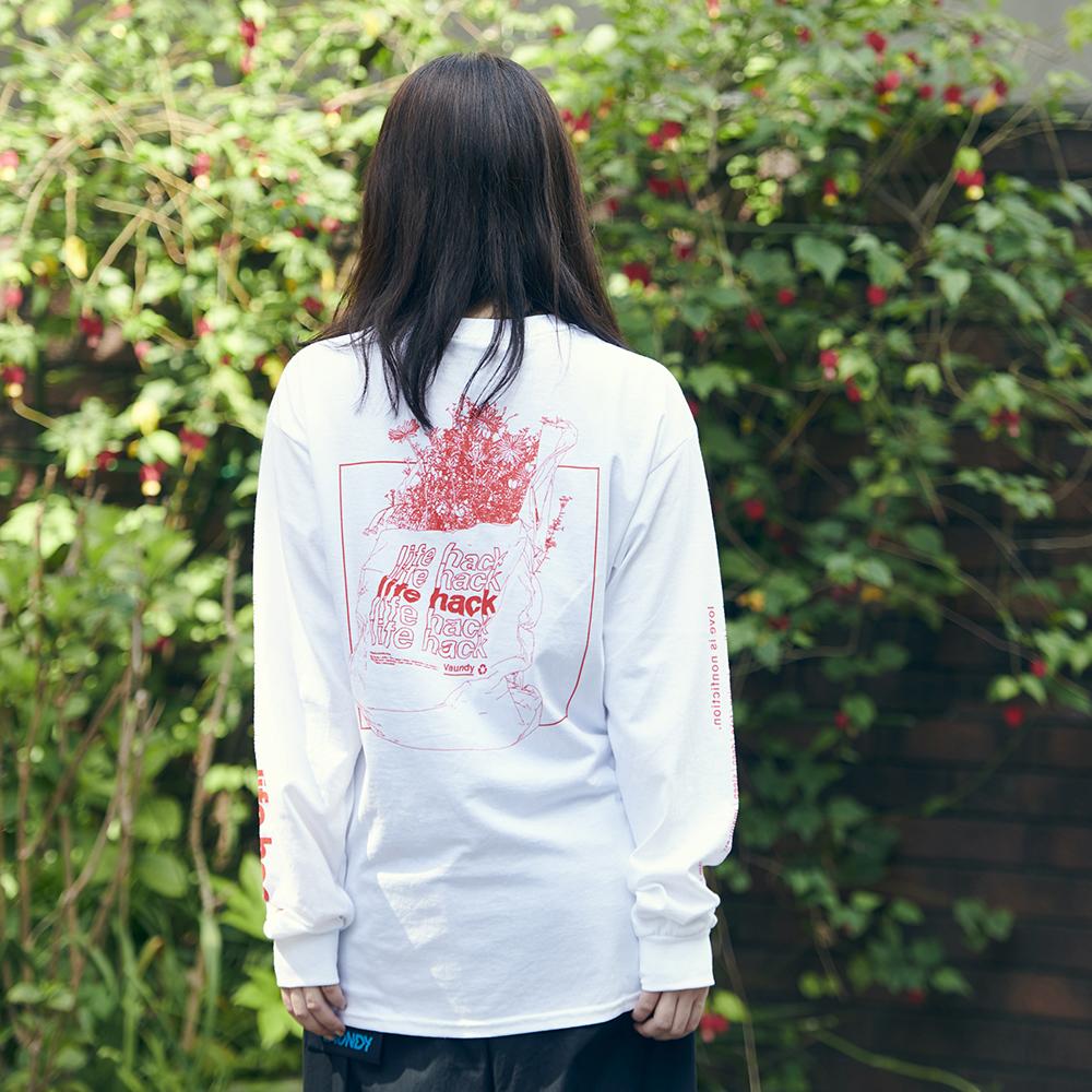 Long Sleeve T-Shirt・life hack [White]