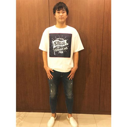 ≪ファンキー号CREW限定受注商品≫FUNKY GO CREW 別注デニム風アップリケ オーバーサイズTシャツ