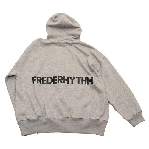 FREDERHYTHM 刺繍 WIDEパーカー/グレー/M