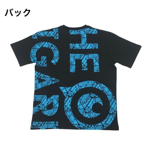 デジカモロゴTシャツ/ブラック×シアン