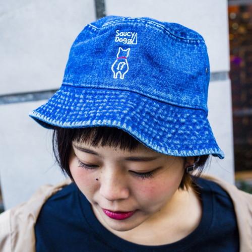わんこ刺繍バケットハット/デニム