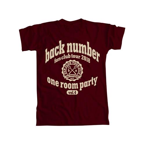 one room party vol.4 カレッジロゴTシャツ/バーガンディ
