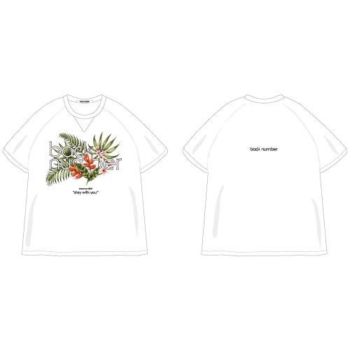 """stay with you""ボタニカル柄オーバーサイズTシャツ/ホワイト"