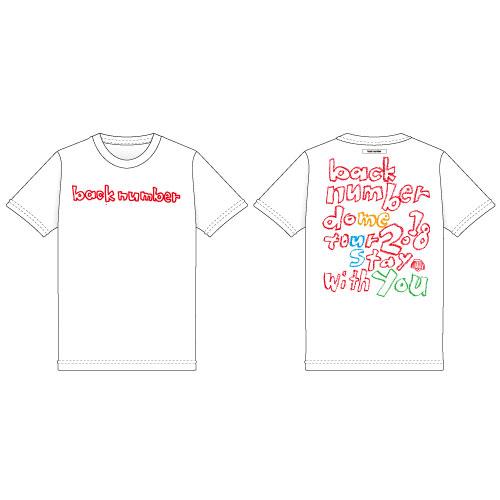 依与吏手描きツアーロゴTシャツ/ホワイト