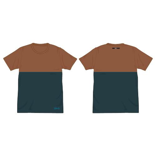 bknb バイカラーTシャツ/ブラウン×ティールブルー