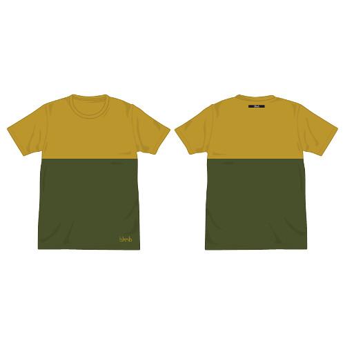 bknb バイカラーTシャツ/マスタード×カーキ