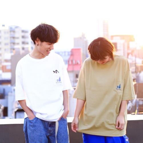 ビッグシルエットポケットTシャツ/サンドカーキ