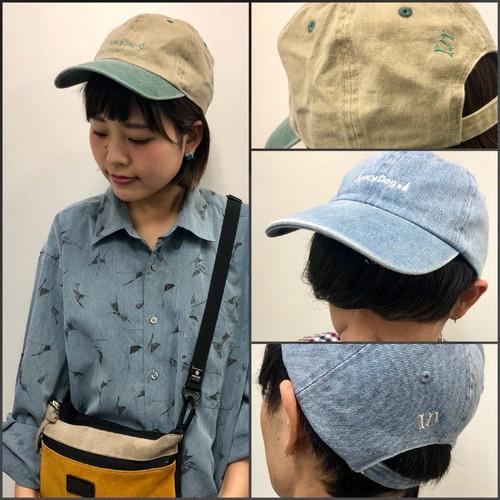 ロゴ刺繍キャップ/ツートーン カーキ×グリーン