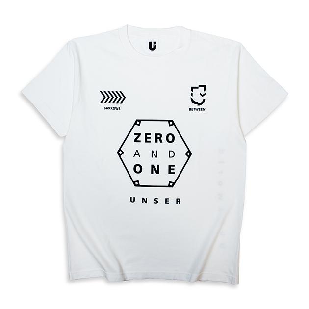 Tシャツ【B】0&1(ホワイト) - UNSER TOUR